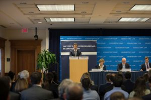 """Georgetown Law Professor Itai Grinberg moderated the """"Tax & Trade Wars?"""" event at Georgetown Law on February 3."""