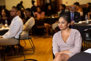 Georgetown Law BLSA President Janae Staicer (L'20) at the BLSA Black History Month culmination dinner.