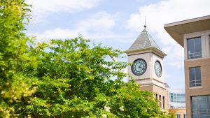 Image of the Georgetown Law Center clock tower behind an image of a tree under blue skies.