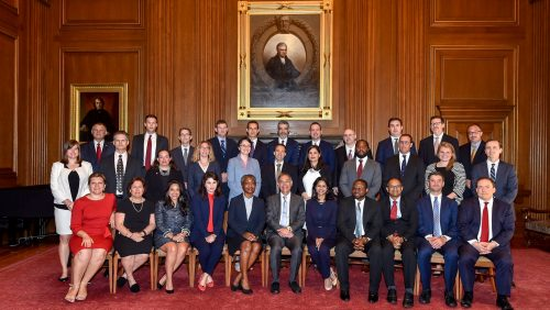 Georgetown Law alumni after the annual Supreme Court Swearing-In Ceremony on Monday, June 17, 2019.