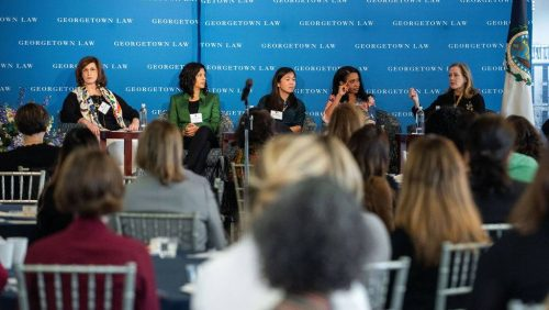 At the opening plenary of the 2020 Georgetown Law Women's Forum on February 28, panelists (left to right) Saphira Galoob, L'99, Ghita Harris-Newton, L'99, Helen Wong, L'09, and Sheila McCorkle, L'11, spoke with Professor Hillary Sale about adaptability and finding success personally and professionally.