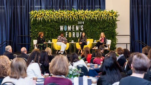 At the 2019 Georgetown University Women's Forum on March 28, panelists Nicolina O'Rorke, B'00, Juliette Pryor, L'91, MS'91, and Fatima Goss Graves, President and CEO of the National Women's Law Center, spoke with Professor Hillary Sale about how women can advance and maximize their success in the workplace.