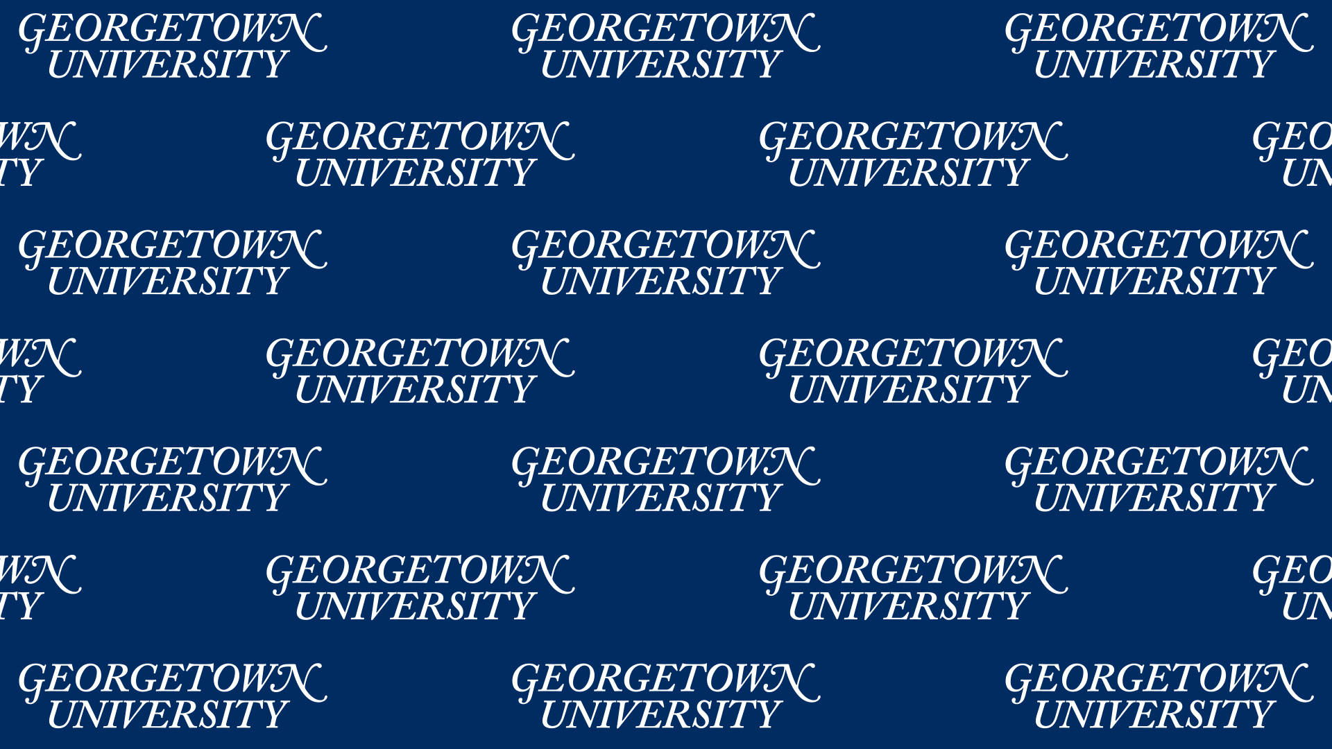 Georgetown University official name in white repeated on a blue background.