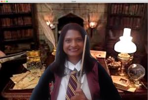 Professor Madhavi Sunder dressed up in Hogwarts clothing