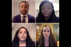 The annual Barristers' Council Beaudry Competition finals were held for the first time virtually via Zoom. (Clockwise from top left) Participants Venu Katta (winner), Odunayo Durojaye, Dana Horowitz, Cheyenne Freely.