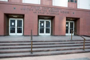 Courthouses nationwide have closed due to the COVID-19 pandemic, including the the U.S. Court of Appeals building in Seattle, Washington.
