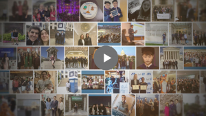 A collage of graduation photographs with a grey play button superimposed over the image.