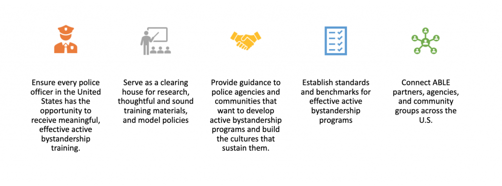 A graphic showing how ABLE is ensuring every police officer in the United States has the opportunity to receive meaningful, effective active bystandership training.