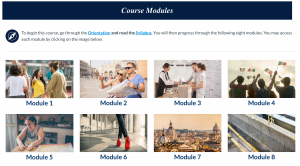 Image of the internal course page of a Canvas Class site.