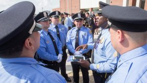 New Orleans police officers meet