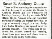 Screen shot of Susan B. Anthony Dinner