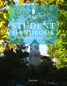 Display of the Cover of the 2020-2021 GEORGETOWN LAW STUDENT HANDBOOK, which is a link t the document