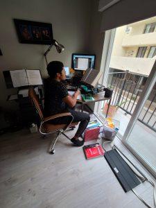 Javen Kostrzewa at his computer