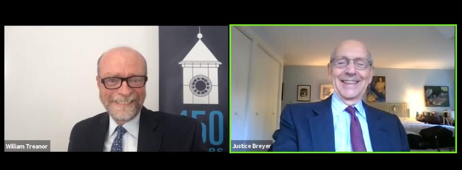 Dean William Treanor and Justice Stephen Breyer chat on webinar