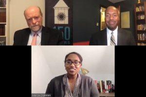 (Clockwise) Georgetown Law Dean William M. Treanor, Professor Paul Butler and Professor Dr. Marcia Chatelain.