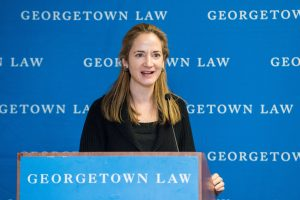 Avril Haines speaking at the 2017 Georgetown Law Women's Forum