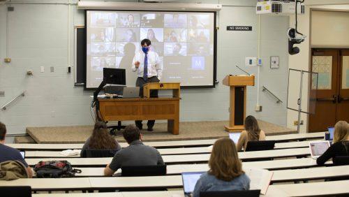 Professor Hasnas teaches a course in Bernard P. McDonough Hall.