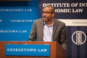 Chris Brummer speaking at Georgetown Law's 40th Annual International Trade Update on March 7, 2019.