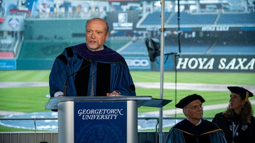 Dean Treanor speaks at Nationals stadium.
