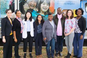 From left: Associate Professor Yael Cannon, Dr. Ana Caskin, Janet Shin (M'20), Prashasti Bhatnagar (L'22),  Ella Barnes-Williams, Scott Grissett, Janine Rethy and Joanne Odom.