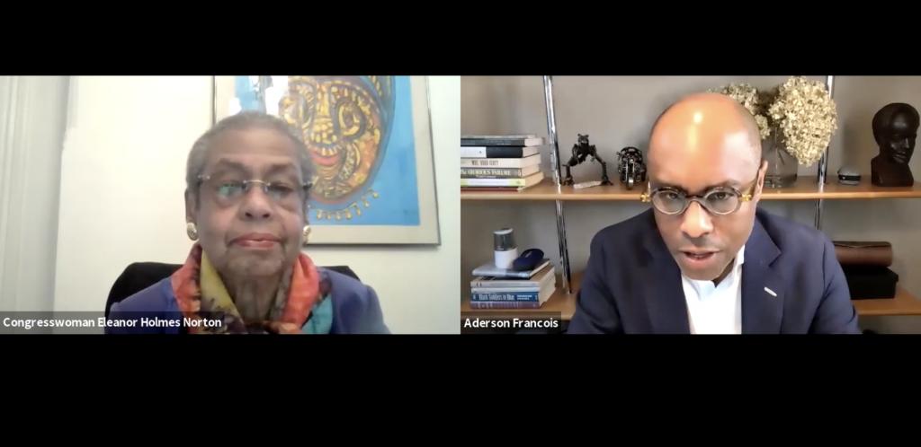 Professor Aderson Francois interviews over zoom Eleanor Holmes Norton