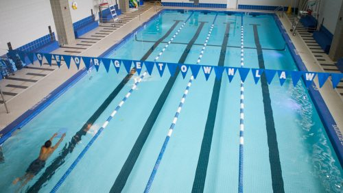 the Olympic size pool inside the fitness center