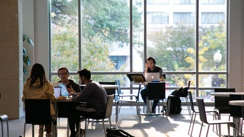 Students studying inside Hotung