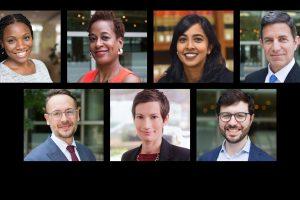 (Clockwise) Nakita Cuttino, Janel George, Anita Krishnakumar, Dave Rapallo, David Wishnick, Emily Satterthwaite and Brishen Rogers.