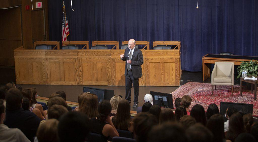 Dean William M. Treanor addresses the new 1L class in Hart Auditorium.