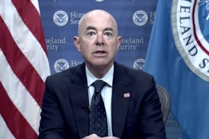 U.S. Secretary of Homeland Security Alejandro Mayorkas speaking at the 18th annual Immigration Law and Policy Conference.